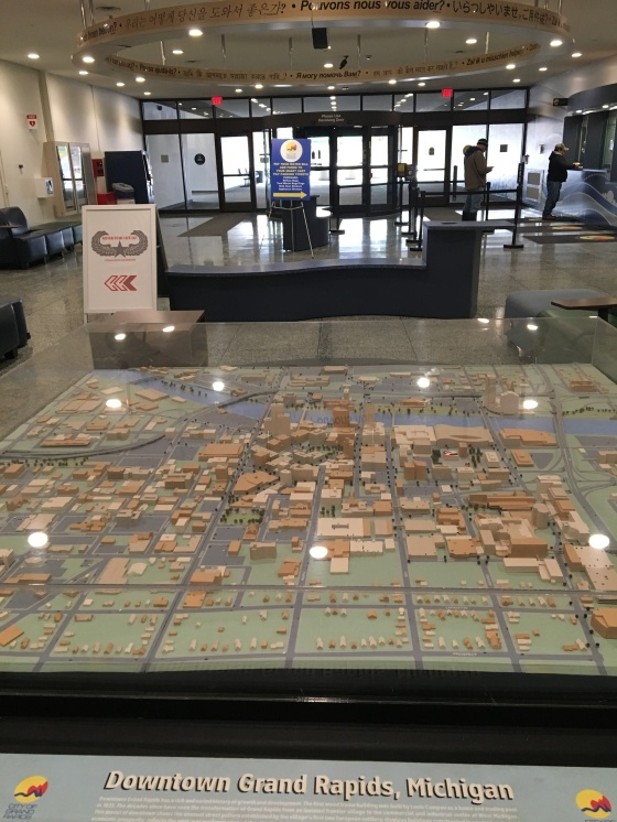Giant relief map of Grand Rapids